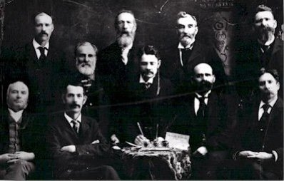 Black and white image of the Algoma Mutual Insurance Company founders